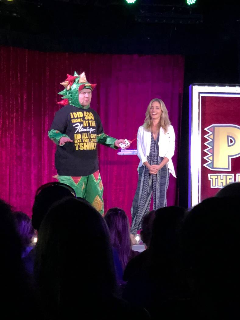 John van der Put as Piff the Magic Dragon is shown with actress Christina Moore during his 500th show at Flamingo Las Vegas's Bugsy's Cabaret on Tuesday, July 17, 2018. (Stabile Productions)