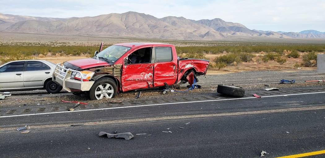 The Nevada Highway Patrol is investigating a fatal crash involving four vehicles on U.S. Highway 93 north of Las Vegas, near Coyote Springs, Wednesday, July 18, 2018. (Twitter/Nevada Highway Patro ...