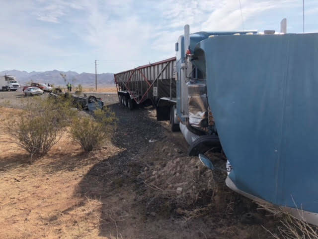 The Nevada Highway Patrol investigates a fatal crash involving four vehicles on U.S. Highway 93 north of Las Vegas, near Coyote Springs, Wednesday, July 18, 2018. (Twitter/Nevada Highway Patrol @N ...