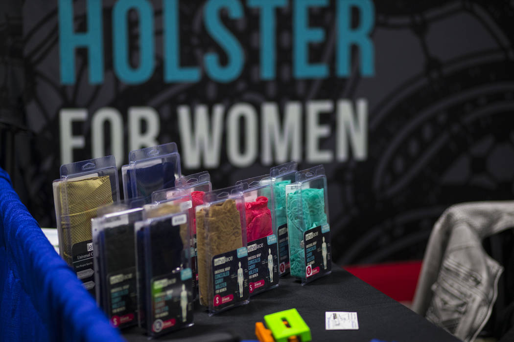 A concealed-carry gun holster for women by Lethal Lace during SHOT Show at the Sands Expo and Convention Center in Las Vegas on Thursday, Jan. 19, 2017. (Chase Stevens/Las Vegas Review-Journal) @c ...