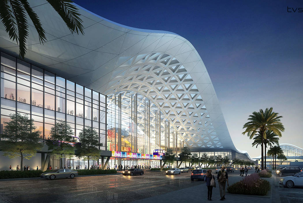 A design rendering, released recently, shows how the Las Vegas Convention Center expansion is expected to look on completion. (tvsdesign/Design Las Vegas)