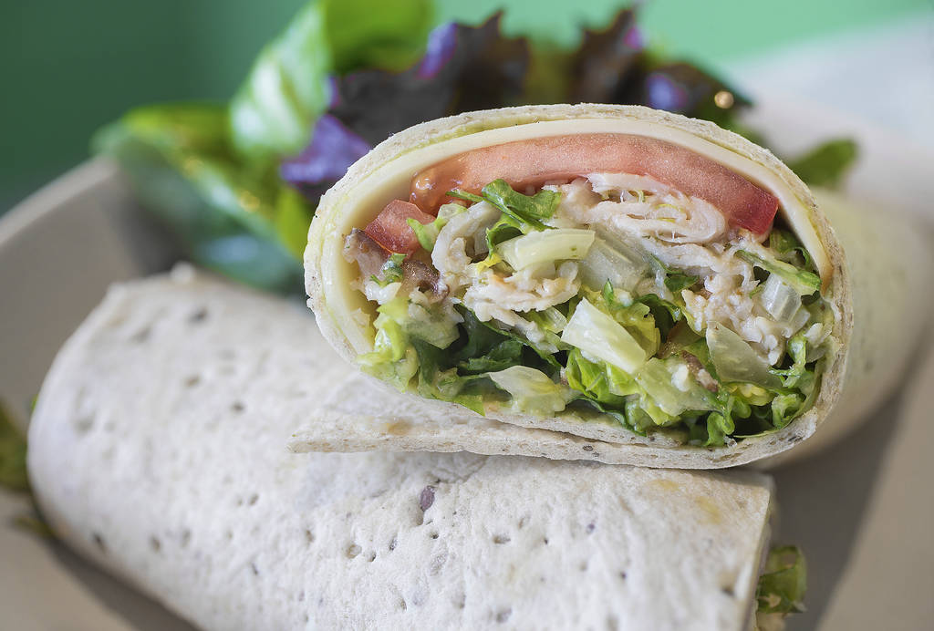 Flying avocado wrap with smoked turkey, gouda, romaine, tomato and avocado hummus at Flower Child on Friday, July 20, 2018, in Las Vegas. Benjamin Hager Las Vegas Review-Journal @benjaminhphoto