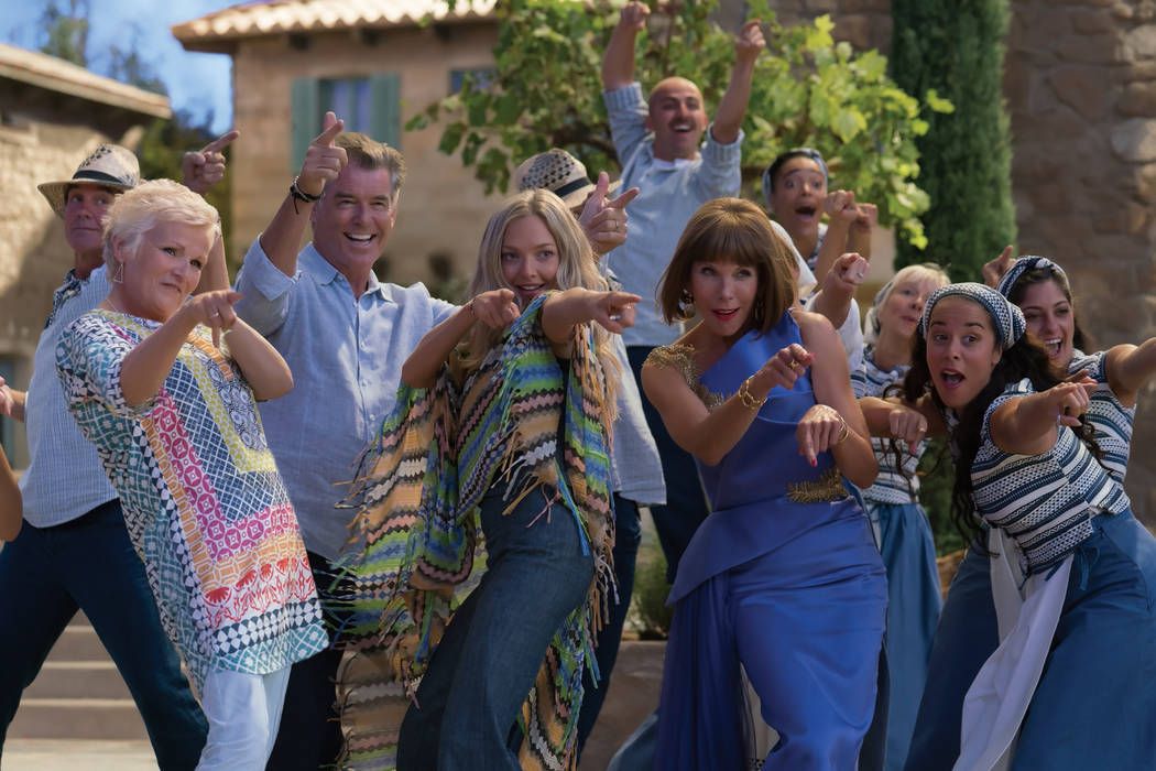 """Rosie (Julie Walters), Sam (Pierce Brosnan), Sophie (Amanda Seyfried) and Tanya (Christine Baranski) in """"Mamma Mia! Here We Go Again."""" Ten years after """"Mamma Mia! The Movie,"""" you are invited to r ..."""