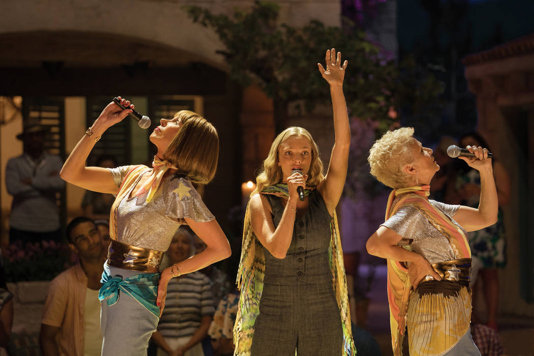 """Rosie (Julie Walters), Sophie (Amanda Seyfried) and Tanya (Christine Baranski) in """"Mamma Mia! Here We Go Again."""" Ten years after """"Mamma Mia! The Movie,"""" you are invited to return to the magical G ..."""