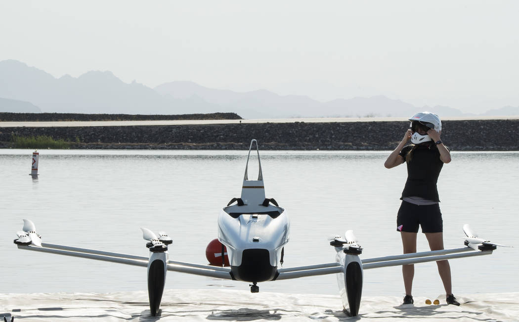 """Flight training manager Brittney Miculka prepares to fly the """"Flyer"""" at Kitty Hawk's facility in Lake Las Vegas, Wednesday, July 18, 2018. (Marcus Villagran/Las VegasReview-Journal ..."""