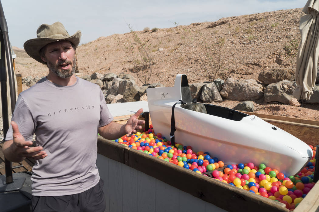 Todd Reichert, director of engineering on the Flyer project, talks about the water simulation at Kitty Hawk's facility in Lake Las Vegas, Wednesday, July 18, 2018. (Marcus Villagran/Las Vegas Revi ...