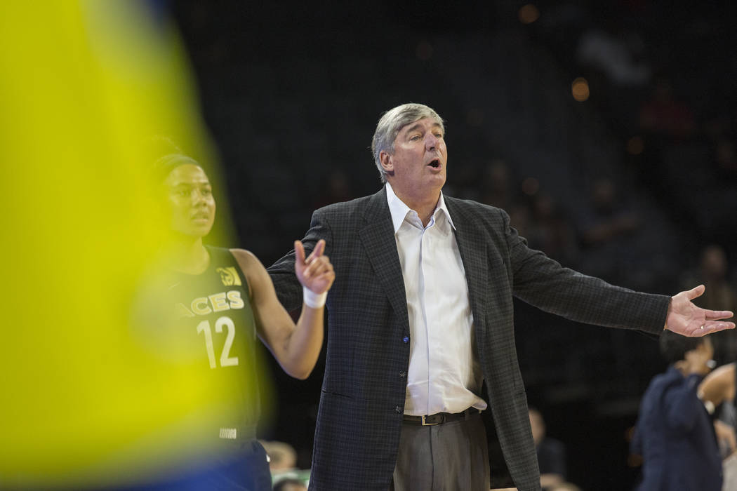 Aces coach Bill Laimbeer questions a call in the 1st quarter during Las Vegas' matchup with the Dallas Wings on Wednesday, June 27, 2018, at the Mandalay Bay Events Center, in Las Vegas. Benjamin ...