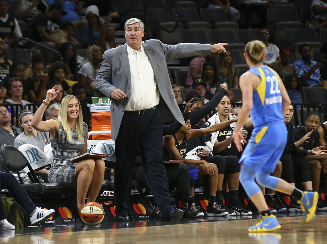 Las Vegas Aces head coach Bill Laimbeer motions to a referee during the first half of a WNBA basketball game against Chicago Sky at Mandalay Bay Events Center in Las Vegas on Thursday, July 5, 201 ...