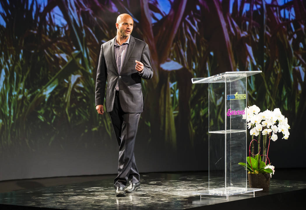 Brock Leach, chief operating officer and general manager of Oasis Biotech, an indoor farming company, speaks during a grand opening event in Las Vegas on Wednesday, July 18, 2018. Chase Stevens La ...