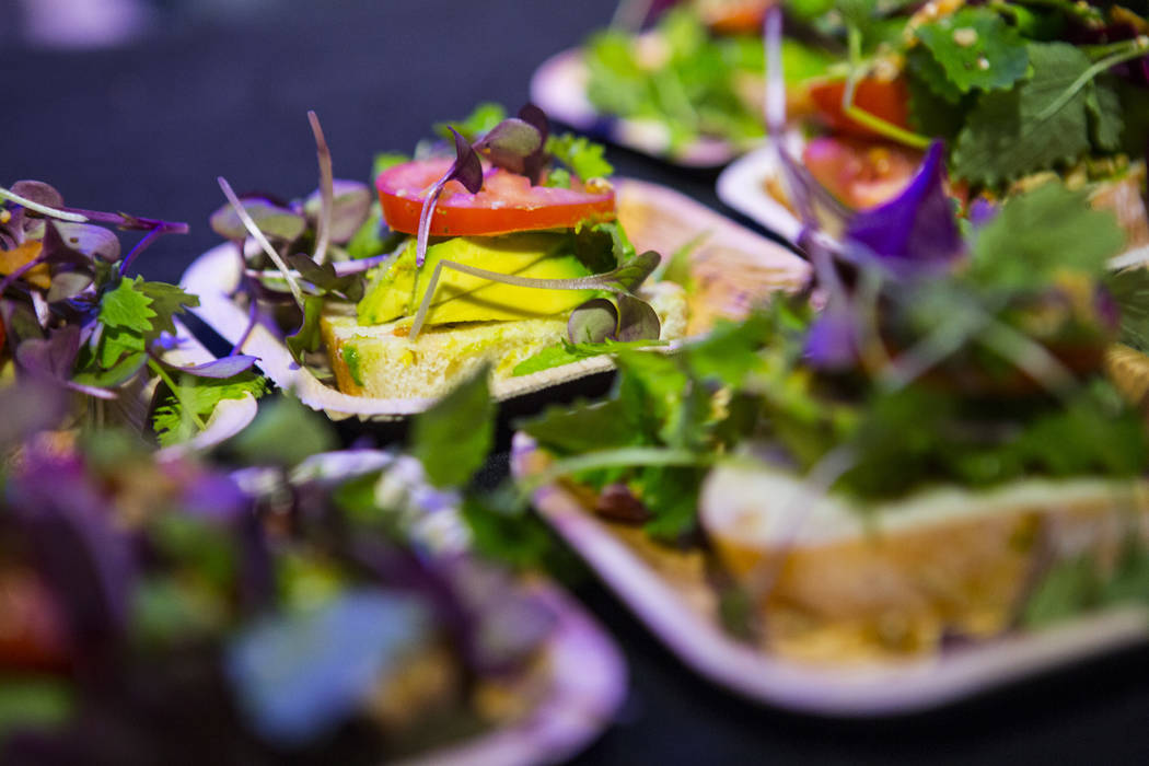 Avocado toast available to sample during a grand opening event at Oasis Biotech, an indoor farming company, in Las Vegas on Wednesday, July 18, 2018. Chase Stevens Las Vegas Review-Journal @csstev ...