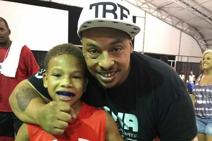 Las Vegas' Curmel Moton, left, with father, Curtis. Moton, 12, is the 2017 Junior and Youth Golden Gloves Nationals champion. Courtesy of Junior Golden Gloves