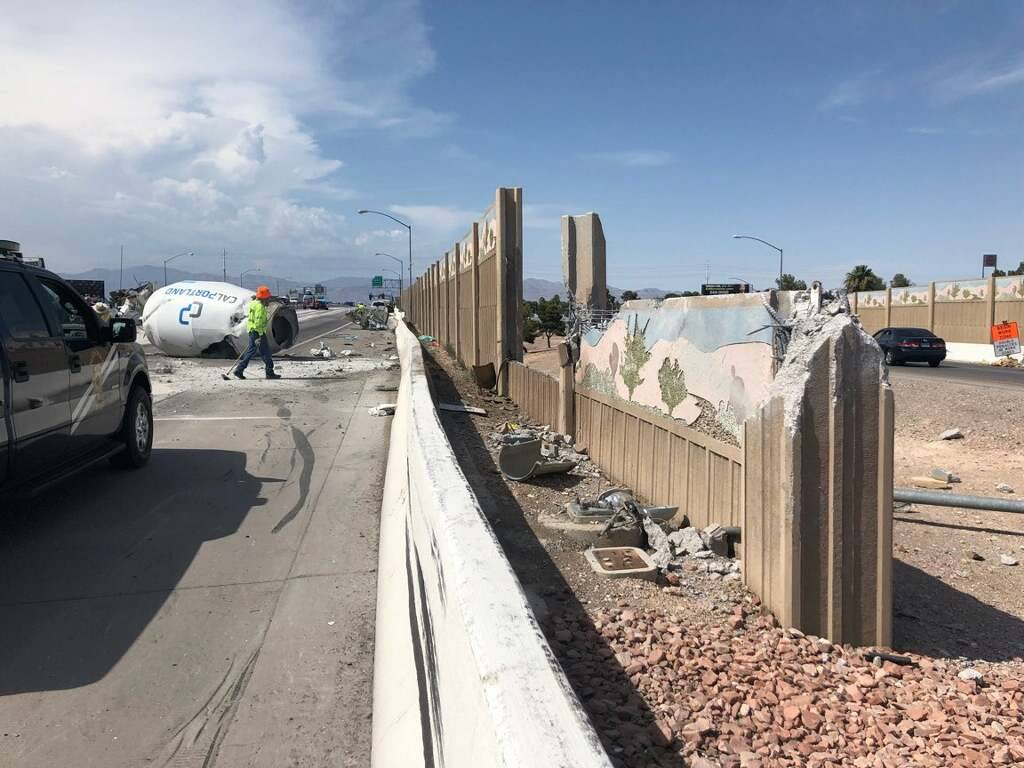 A cement truck crashed into a tow truck on U.S. Highway 95 at East Charleston Boulevard, spilling cement and diesel fuel onto the highway, on July 18, 2018. (Courtesy of Nevada Highway Patrol troo ...