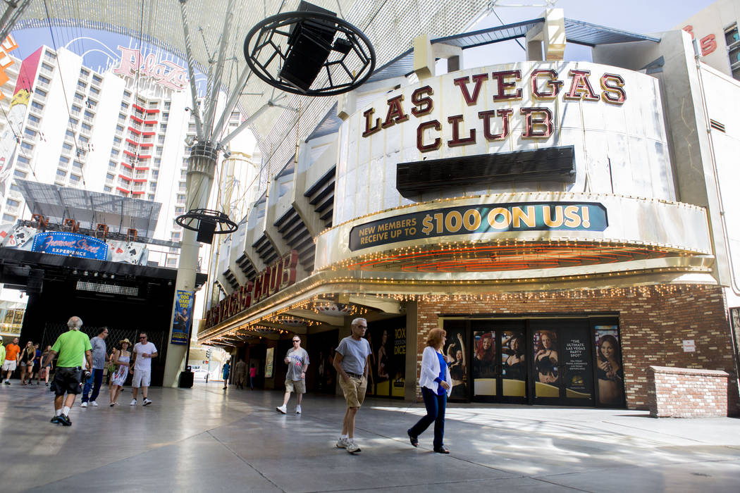 The now-closed Las Vegas Club is being considered to be set up as a temporary casino by the Gaming Control Board in order to preserve the gaming license, in downtown Las Vegas, Tuesday, June 6, 20 ...