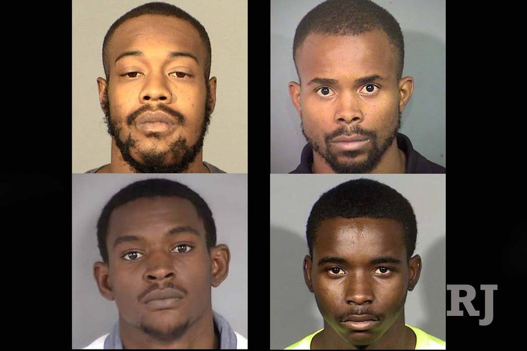 Top row, Michael Thomas, left, and Trashaun Brooks; bottom row, D'vonte Bridges, left, and Donte Moore (North Las Vegas Police Department)