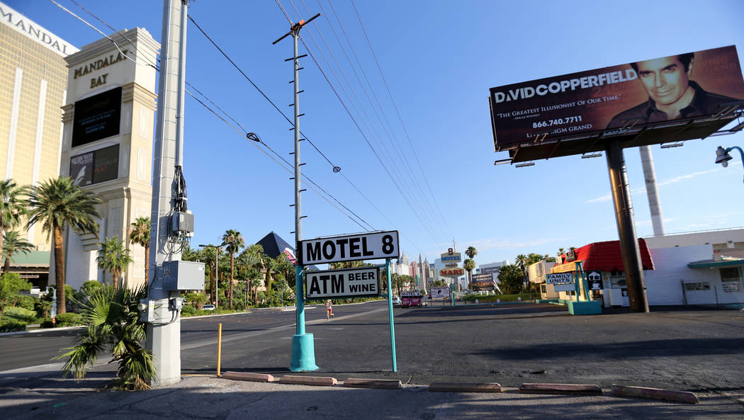 Signs for the closed Motel 8 on the south Strip in Las Vegas Thursday, July 19, 2018. K.M. Cannon Las Vegas Review-Journal @KMCannonPhoto