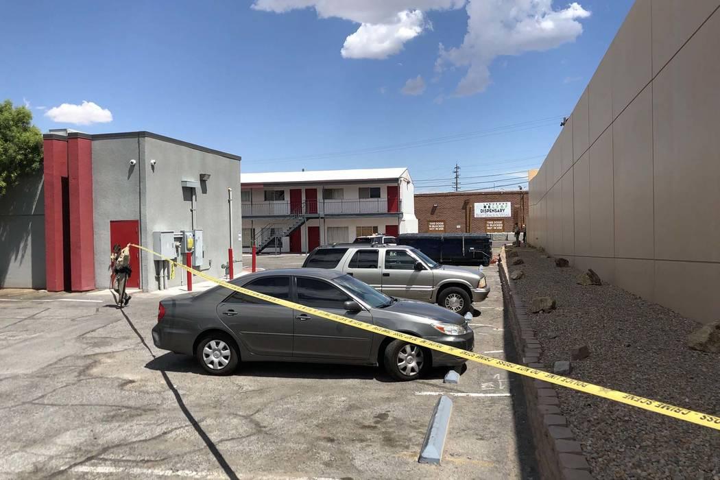 Las Vegas police investigate a fatal shooting at a marijuana dispensary on Las Vegas Boulevard South near Sahara Avenue, near the Las Vegas Strip, Thursday, July 19, 2018. (K.M.Cannon/Las Vegas Re ...