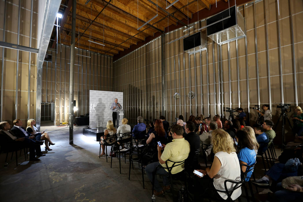 Clark County Commissioner Steve Sisolak speaks during an event at the under-construction Planet 13 Superstore dispensary, a cannabis entertainment complex at 2548 W. Desert Inn Road in Las Vegas, ...