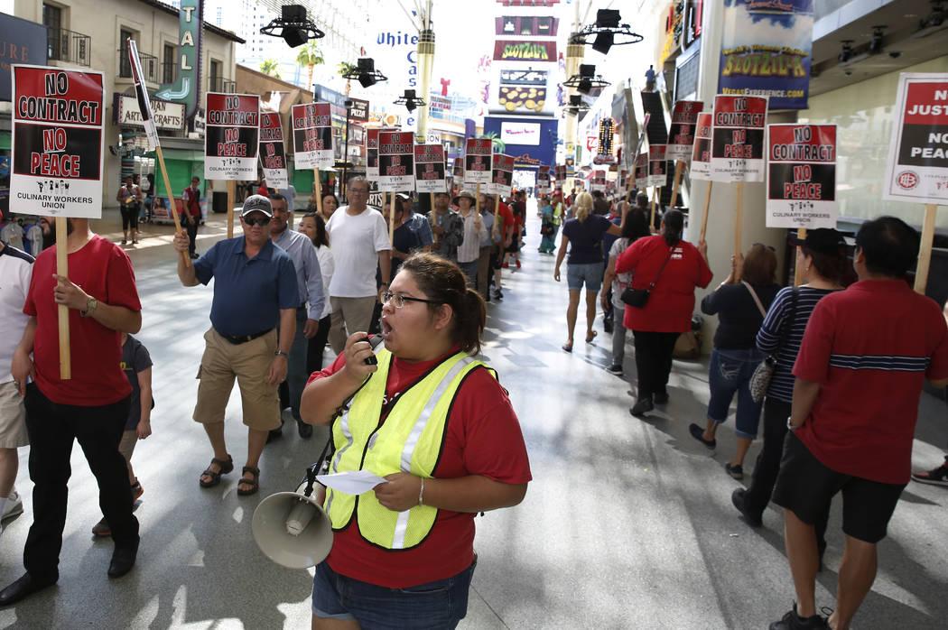 Karla Rodriguez Beltran shouts slogans as Culinary union members picket in front of the D Las Vegas on Friday, July 6, 2018, in Las Vegas. (Bizuayehu Tesfaye/Las Vegas Review-Journal) @bizutesfaye