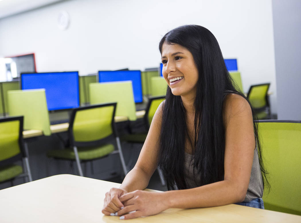 Jessica Hill, a medical student in the class of 2022, talks about her first week of classes at UNLV's School of Medicine on the Shadow Lane campus in Las Vegas on Wednesday, July 18, 2018. Chase S ...