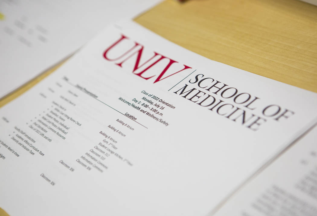 A pamphlet for the first week of classes for the class of 2022 at UNLV's School of Medicine on the Shadow Lane campus in Las Vegas on Wednesday, July 18, 2018. Chase Stevens Las Vegas Review-Journ ...