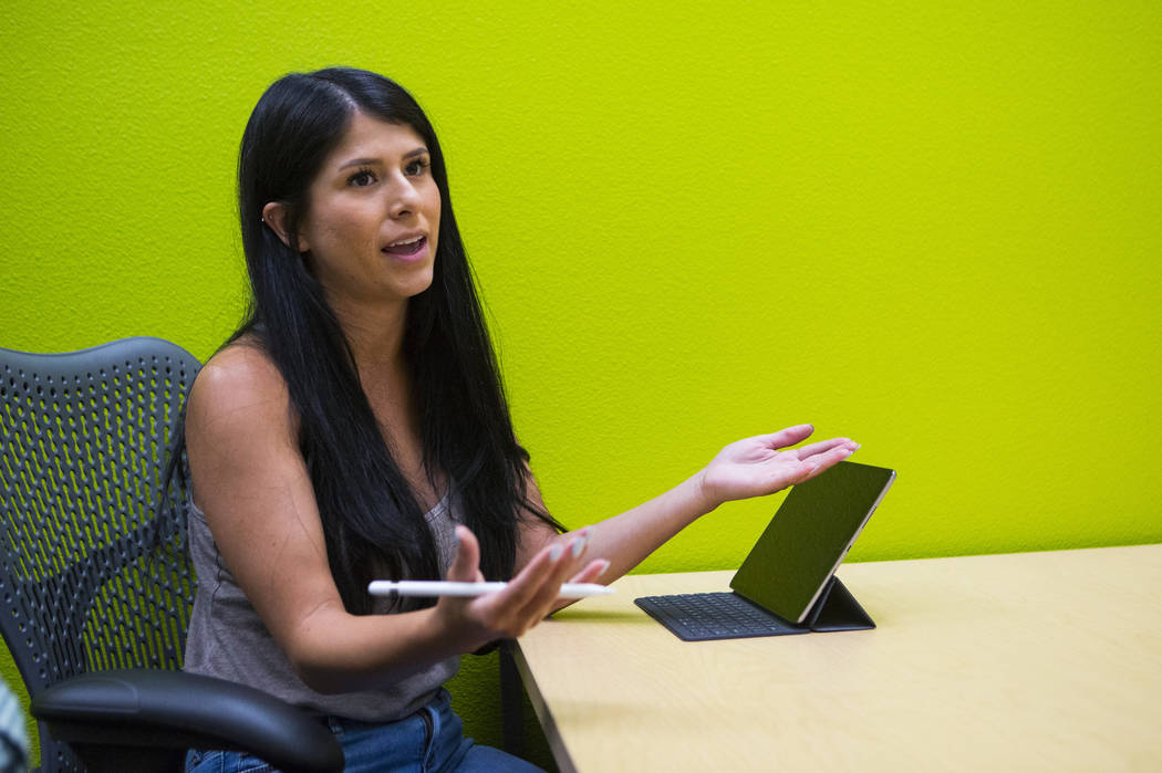 Jessica Hill participates in a group discussion during the first week of classes for students in the class of 2022 at UNLV's School of Medicine on the Shadow Lane campus in Las Vegas on Wednesday, ...