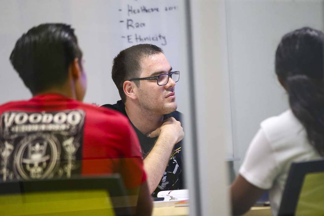 Enes Djesevic participates in a group discussion during the first week of classes for students in the class of 2022 at UNLV's School of Medicine on the Shadow Lane campus in Las Vegas on Wednesday ...