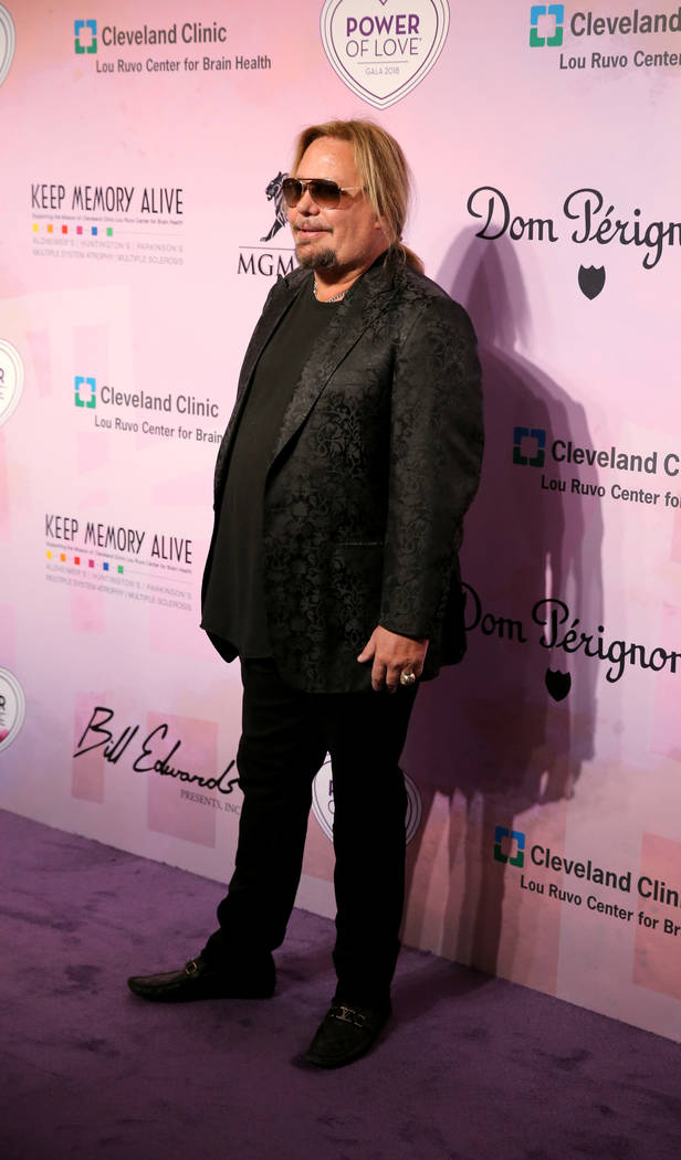 Motley Crue frontman Vince Neil on the purple carpet at the 22nd annual Power of Love gala in the MGM Grand Garden Arena in Las Vegas Saturday, April 28, 2018. (K.M. Cannon Las Vegas Review-Journa ...