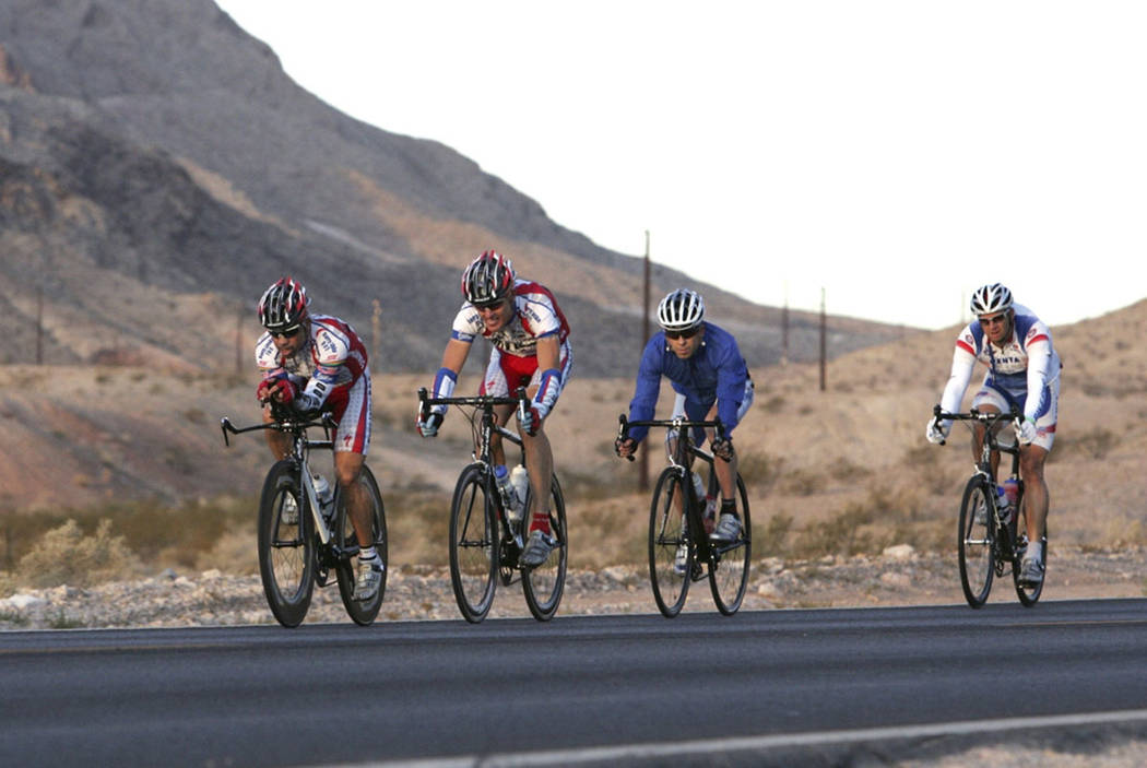 Cyclists ride on a rode in the desert near Las Vegas. (courtesy)