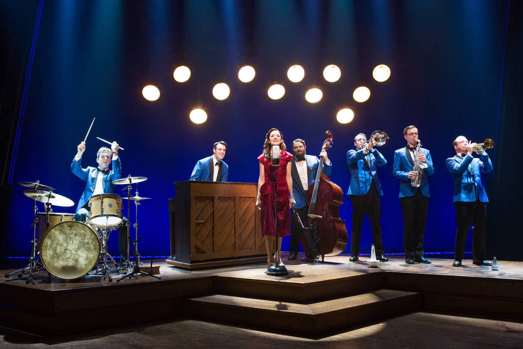 """Corey Cott (as Donny Nova) at the piano and Laura Osnes (as Julia Trojan) at the microphone in the Broadway production of """"Bandstand,"""" written by Las Vegans Richard Oberacker and Robert ..."""