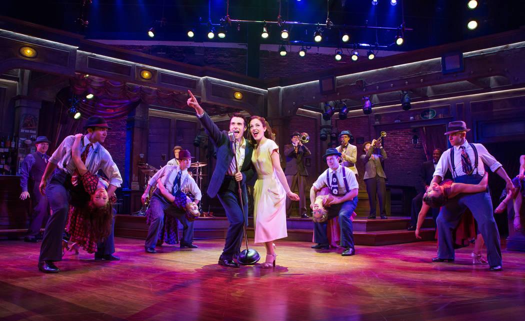 "Donny Nova (Corey Cott) and Julia Trojan (Laura Osnes) in the Broadway musical ""Bandstand."""