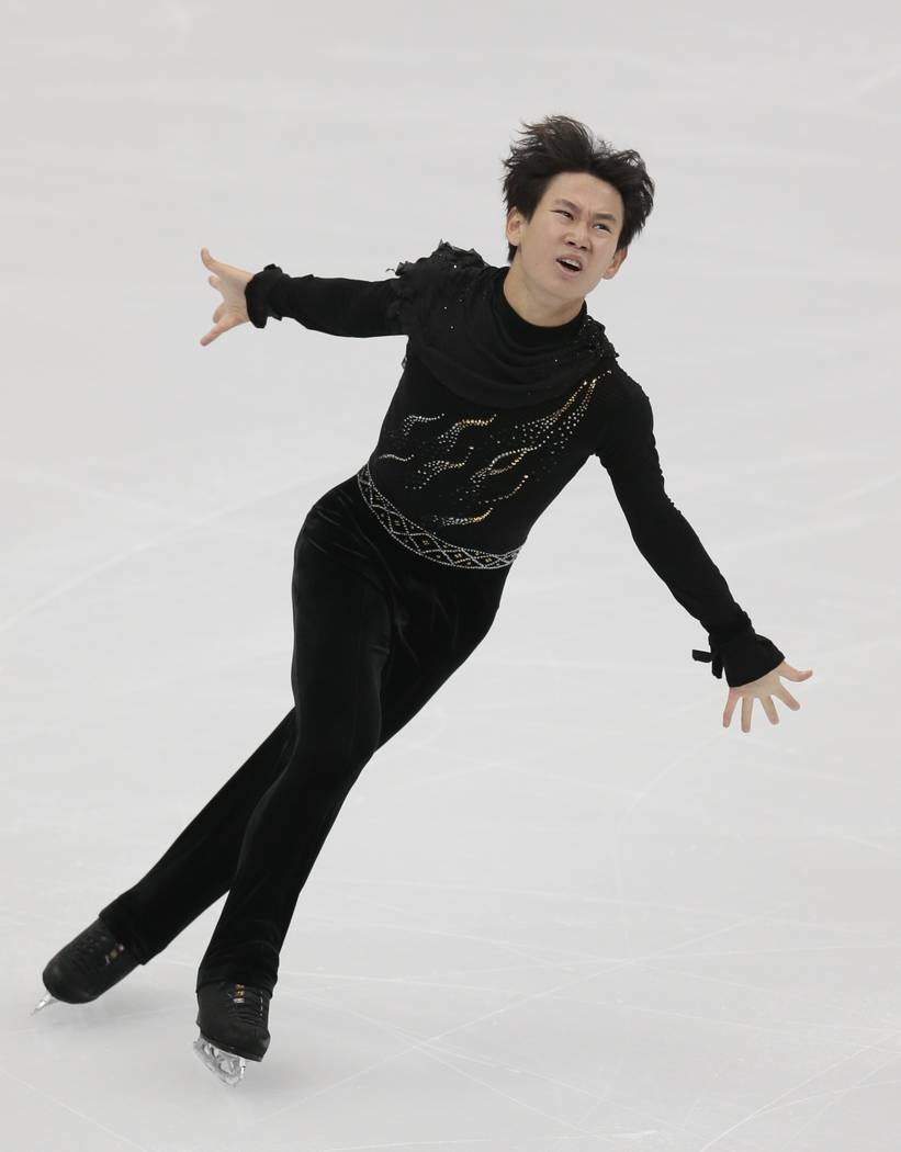 Denis Ten, of Kazakhstan, skates his free program at the Rostelekom Cup ISU Grand Prix figure skating event in Moscow, Russia on Oct. 21, 2017. (AP Photo/Ivan Sekretarev, File)