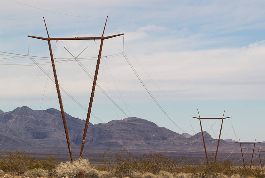 The One Nevada Transmission Line is seen at the Harry Allen Generating Station, north of Las Vegas, in 2014. (Chase Stevens/Las Vegas Review-Journal)