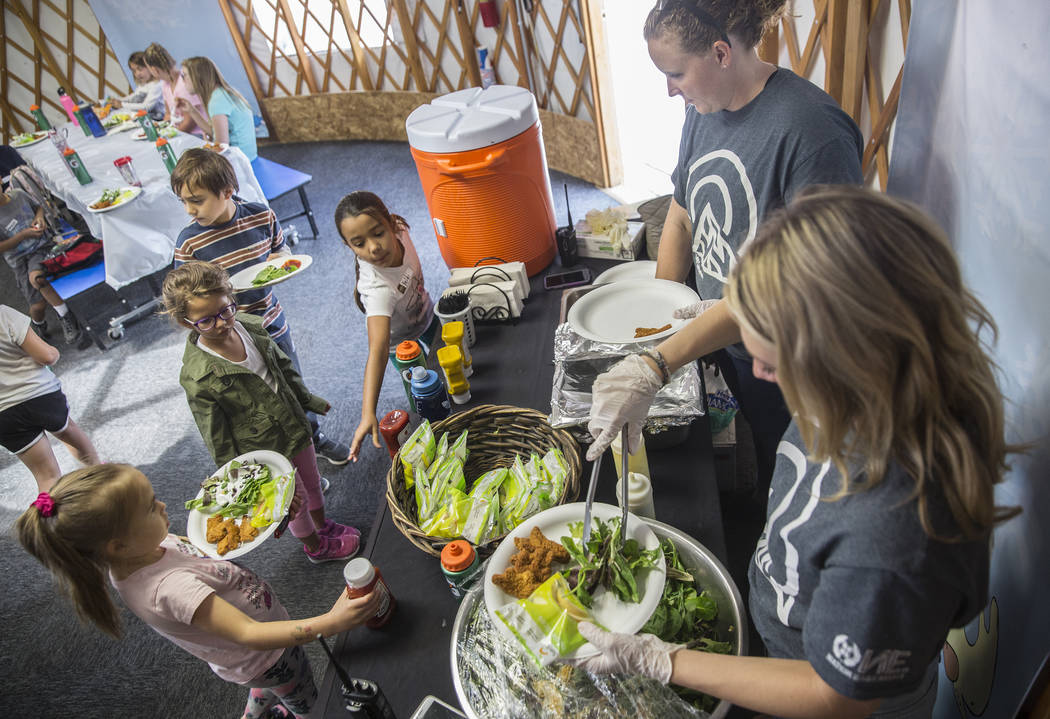 Lunch is served during Youth Adventure Day at Lee Canyon on Friday, July 20, 2018, in Las Vegas. Benjamin Hager Las Vegas Review-Journal @benjaminhphoto