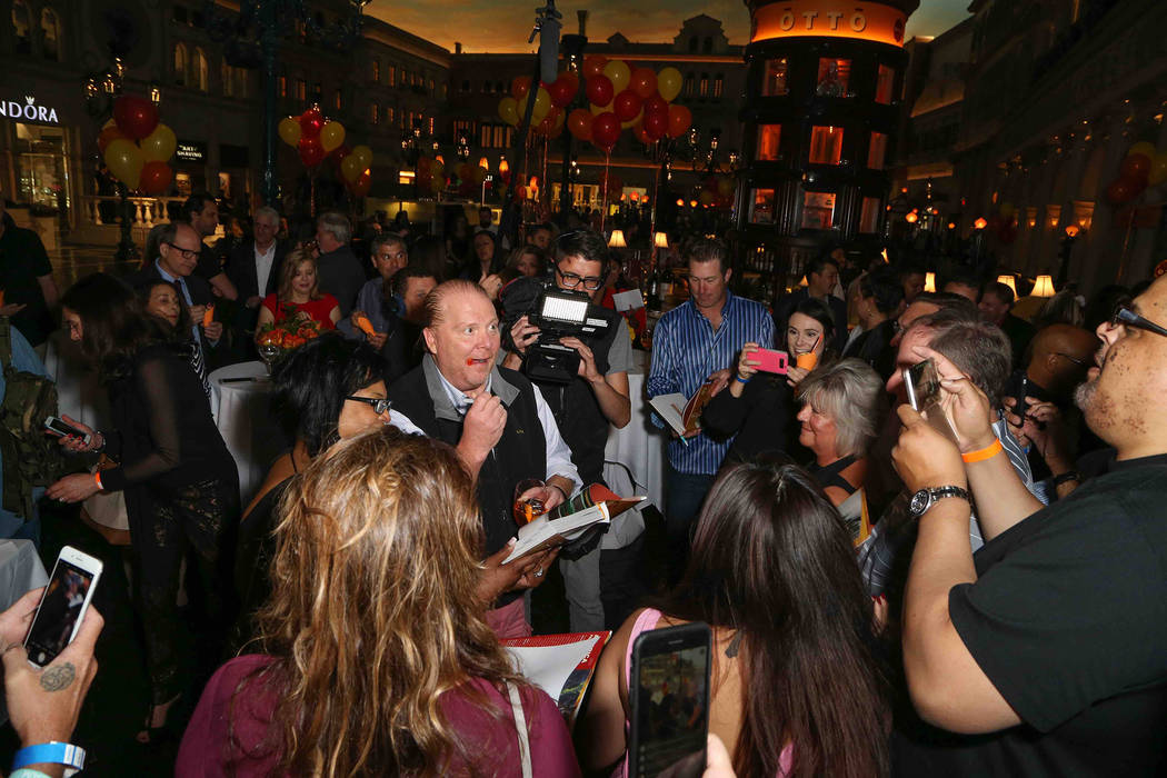 Mario Batali celebrates the 10th anniversaries of his Otto Enoteca e Pizzeria and B&B Ristorante at The Venetian on Friday, April 14, 2017, in Las Vegas. (Gabe Ginsberg)