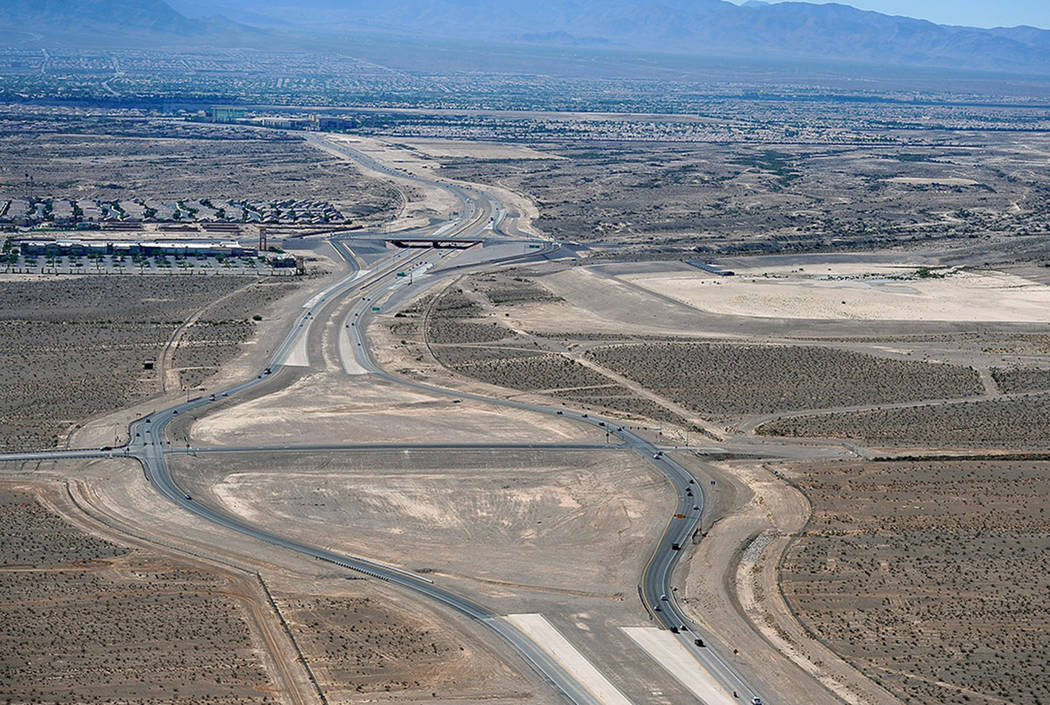 An aerial view of the Losee Road interchange at the northern 215 Beltway, seen in 2014. (Las Vegas Review-Journal)