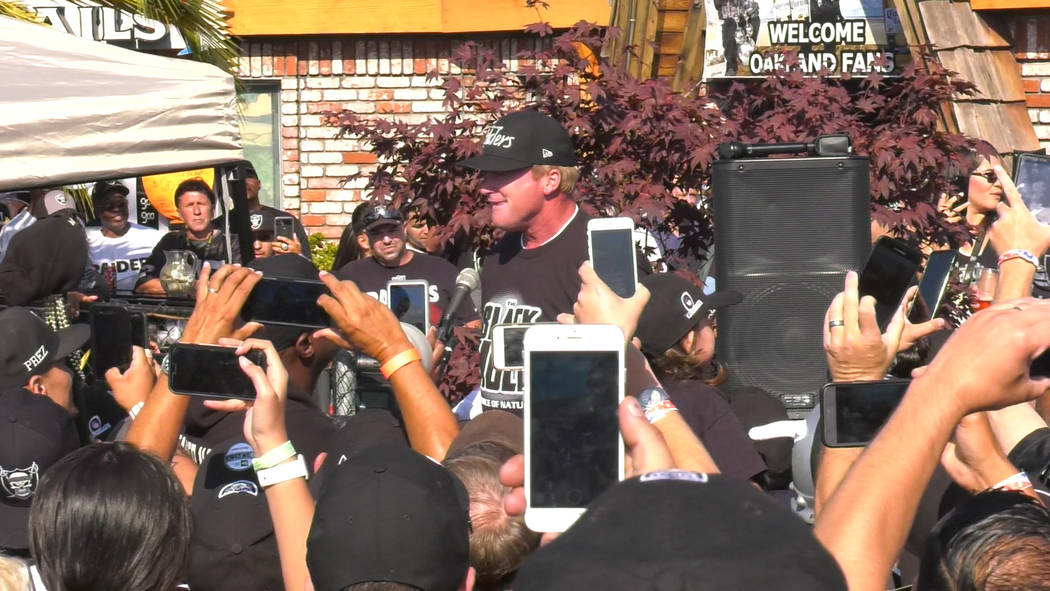 Oakland Raiders head coach Jon Gruden addresses crowd of Raiders fans at free barbecue event at Ricky's Sports Theater and Grill on Friday, July 20, 2018 in San Leandro, Calif. Chris Booker Las Ve ...