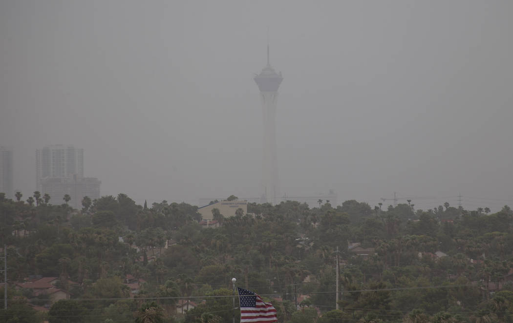 The Stratosphere observation tower is seen through a dust storm on Saturday, July 21, 2018. Richard Brian Las Vegas Review-Journal @vegasphotograph
