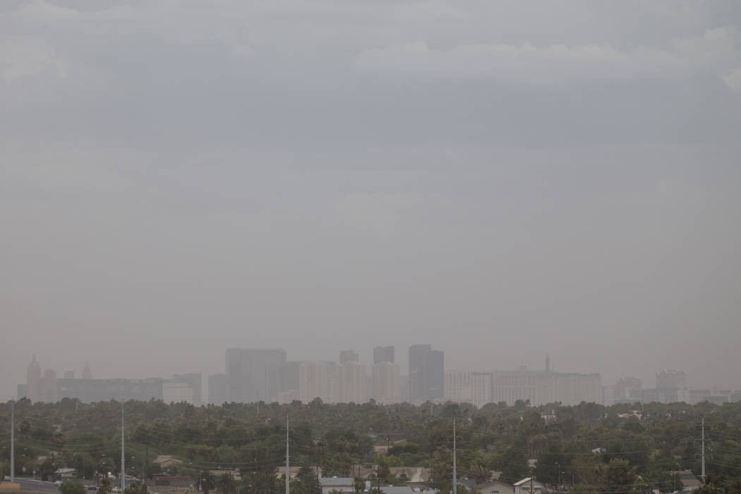 The Las Vegas skyline during a dust storm on Saturday, July 21, 2018. Richard Brian Las Vegas Review-Journal @vegasphotograph