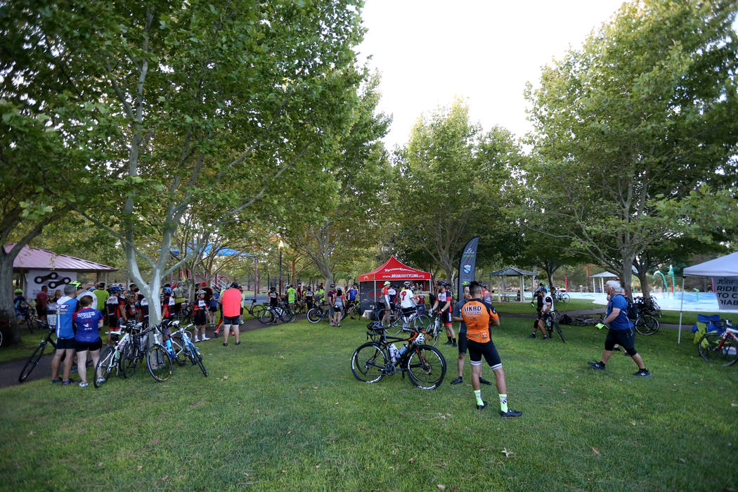 Cyclists gather at Veterans' Memorial Park in Boulder City before riding on the yet-to-be-opened Interstate 11 Saturday, July 21, 2018. The event, sponsored by the Southern Nevada Bicycle Coalitio ...