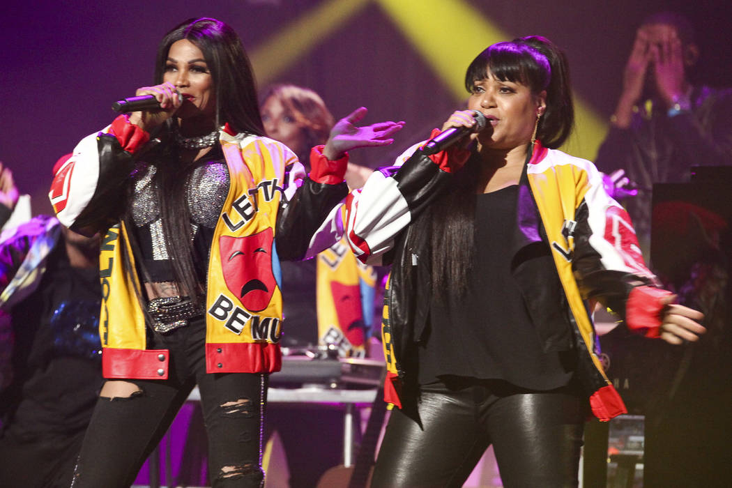 Sandra Denton, left, and Cheryl James, right, of Salt-N-Pepa attend Keep a Child Alive's 13th Annual Black Ball at the Hammerstein Ballroom on Wednesday, Oct. 19, 2016, in New York. (Photo by Andy ...