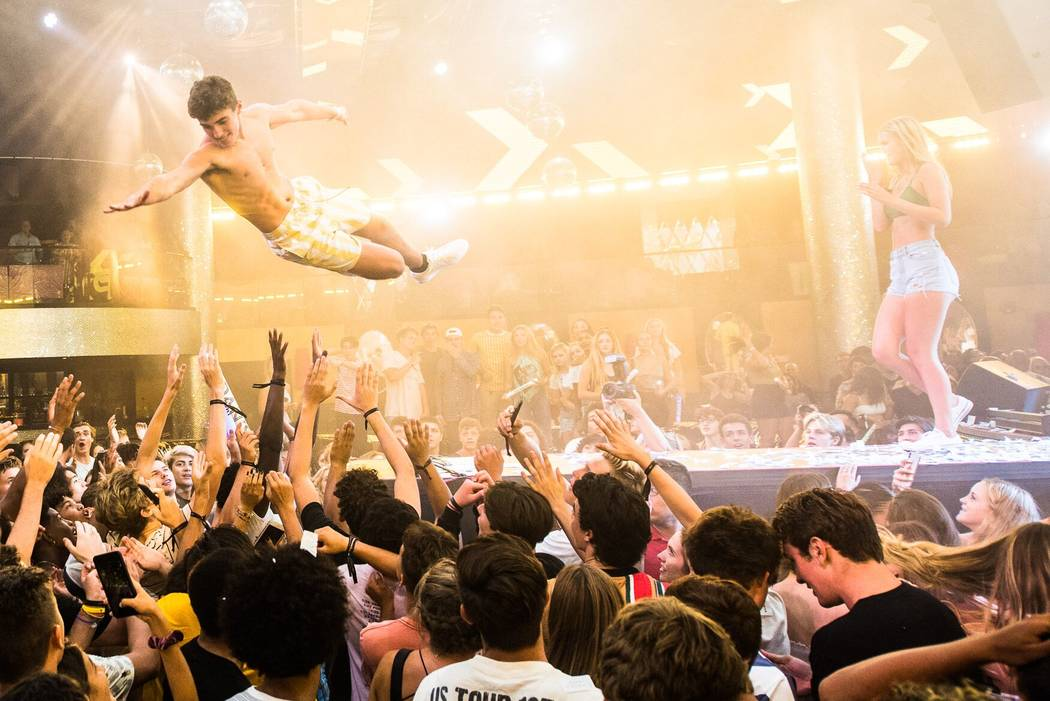 Aidan White performs a stage dive at Drai's at the Cromwell during his 16th birthday party on Wednesday, July 18, 2018. (Social Gal Events)