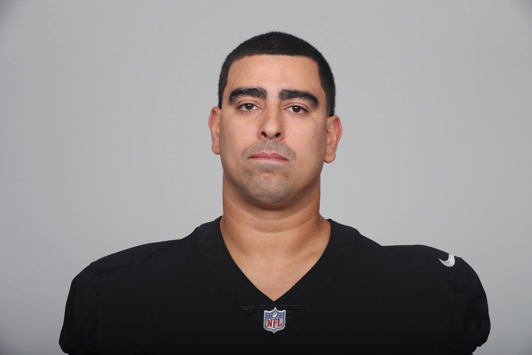 This is a 2018 photo of Breno Giacomini of the Oakland Raiders NFL football team. This image reflects the Oakland Raiders active roster as of Monday, June 11, 2018 when this image was taken. (AP P ...