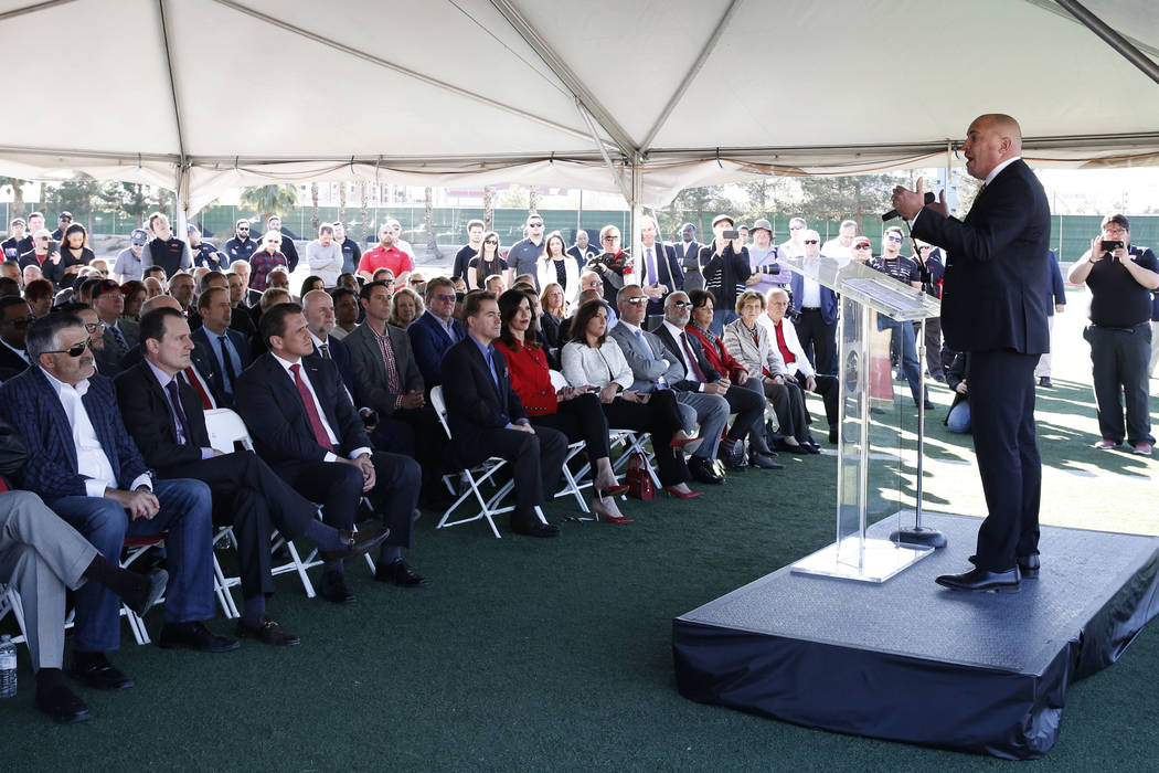 UNLV football head coach Tony Sanchez speaks during the groundbreaking ceremony for the Fertitta Football Complex on Tuesday, Jan. 23, 2018 in Las Vegas. (Bizuayehu Tesfaye/Las Vegas Review-Journa ...