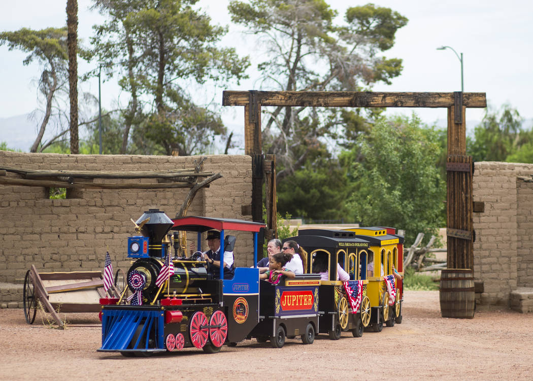 "Attendees enjoy a train ride during the ""Pioneer Day"" event at the Old Las Vegas Mormon Fort State Historical Park in Las Vegas on Saturday, July 21, 2018. Chase Stevens Las Vegas Review ..."