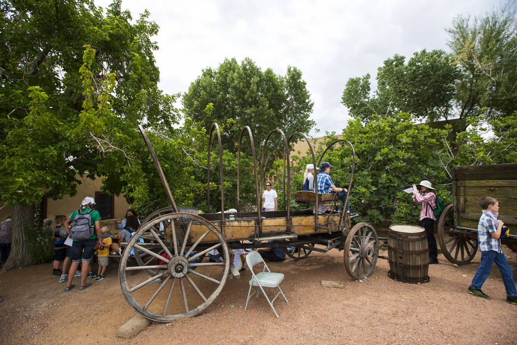 "The remains of a covered wagon on display during the ""Pioneer Day"" event at the Old Las Vegas Mormon Fort State Historical Park in Las Vegas on Saturday, July 21, 2018. Chase Stevens Las ..."