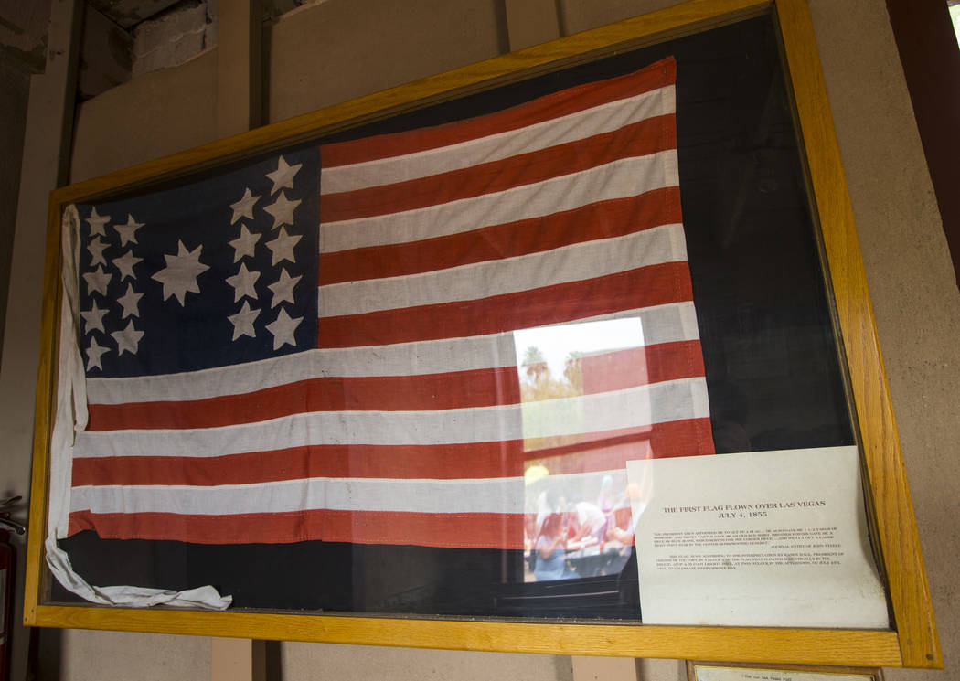 "The first U.S. flag flown over Las Vegas on July 4 in 1855 on display during the ""Pioneer Day"" event at the Old Las Vegas Mormon Fort State Historical Park in Las Vegas on Saturday, July ..."