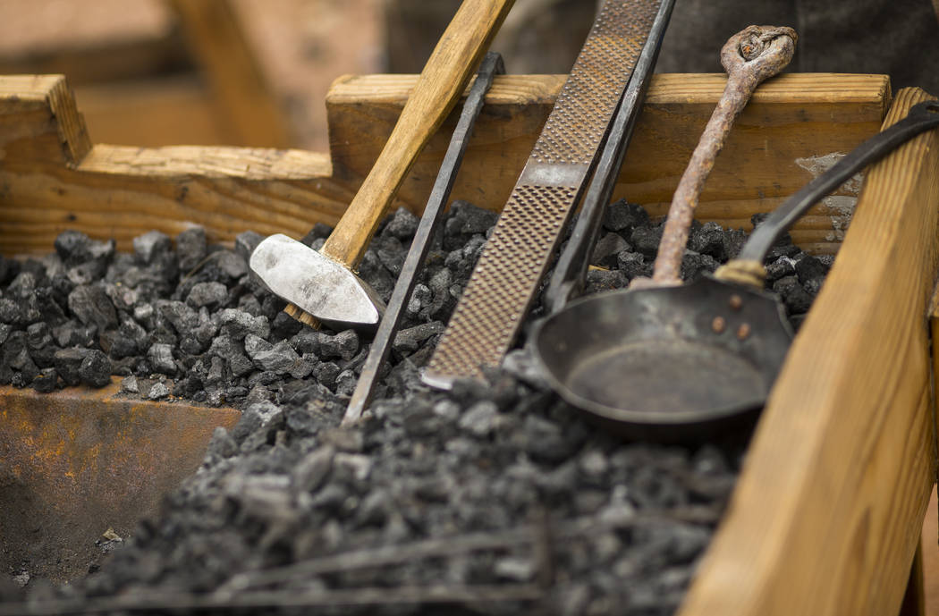 "Blacksmithing tools on display during the ""Pioneer Day"" event at the Old Las Vegas Mormon Fort State Historical Park in Las Vegas on Saturday, July 21, 2018. Chase Stevens Las Vegas Revi ..."