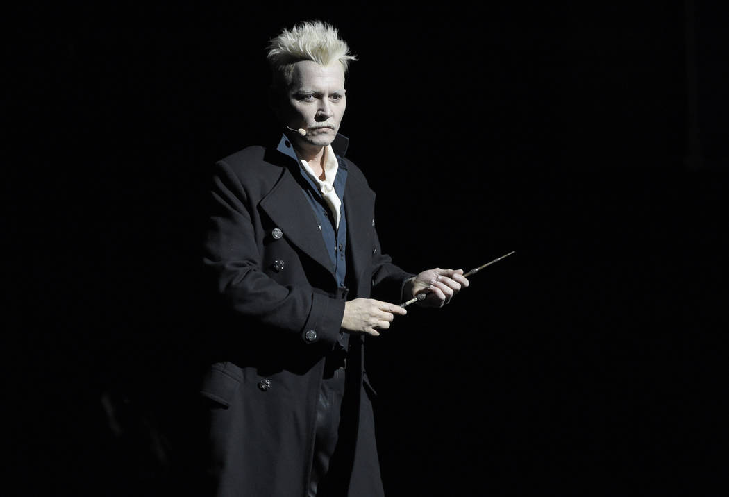 "Johnny Depp appears in character as Gellert Grindelwald at the Warner Bros. Theatrical panel for ""Fantastic Beasts: The Crimes of Grindelwald"" on day three of Comic-Con International on ..."