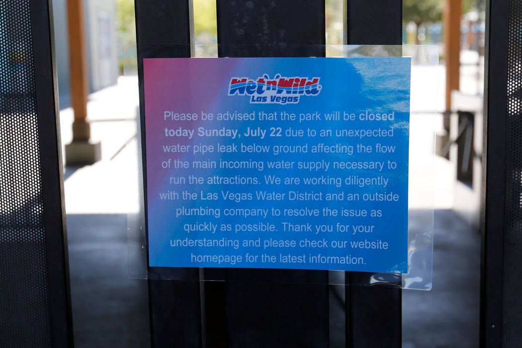 A sign is posted at the entrance of Wet 'n' Wild in Las Vegas, Sunday, July 22, 2018. Wet 'n' Wild was closed Sunday after an undergound water leak, park officials said ...