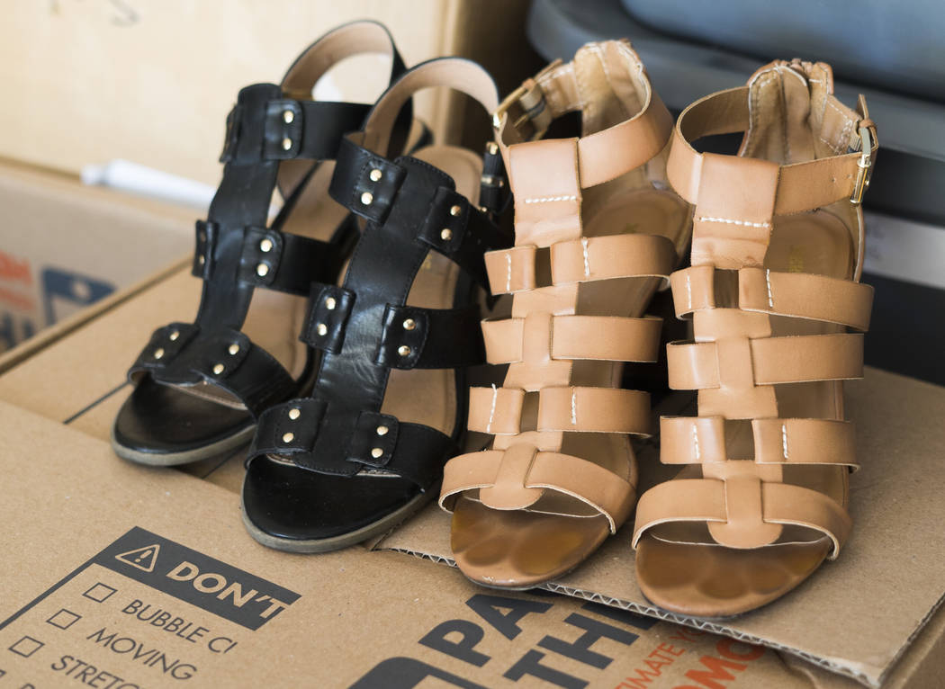 c59d67d6974bae Shoes to be donated to the homeless photographed in Sydney Grover s home in  Las Vegas